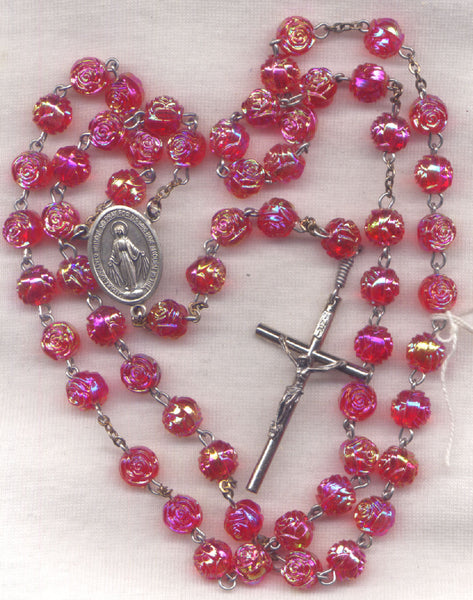Miraculous Medal Rosary AB Red Rosebud Bead Rosary R04