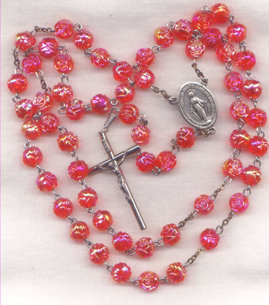 Miraculous Medal Rosary AB Coral Pink Rosebud Bead Rosary R05