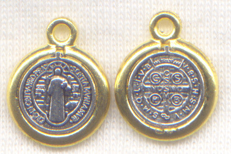 St Benedict Medal 1/2 inch size silver and gold color