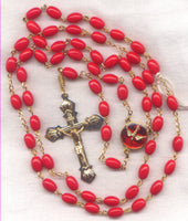 Confirmation Rosary Holy Spirit Center Red Oval Glass Bead RD05
