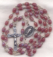 Miraculous Medal Rosary Red Striped Oval Glass Bead RD07