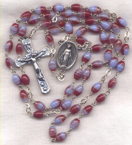 Miraculous Medal Rosary Red Striped Oval Glass Bead RD08