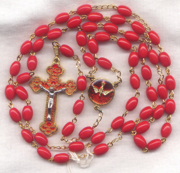 Confirmation Rosary Holy Spirit Center Red Oval Glass Bead RD09