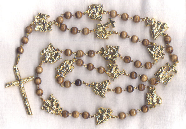 Stations of the Cross Chaplet light brown bone beads STN01