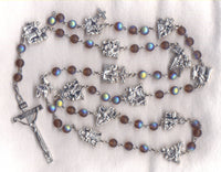 Stations of the Cross Chaplet frosted AB brown glass beads STN03