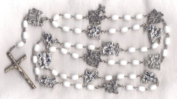 Stations of the Cross Chaplet opaque white glass beads STN04