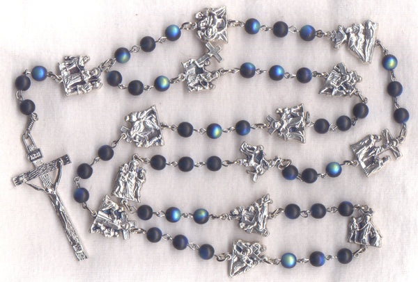 Stations of the Cross Chaplet frosted AB blue glass beads STN05
