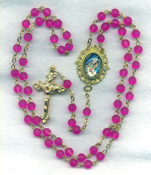 Pink Immaculate Heart of Mary Rosary Glass Bead V02