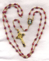 Divine Mercy Rosary Red Diamond Beads V04
