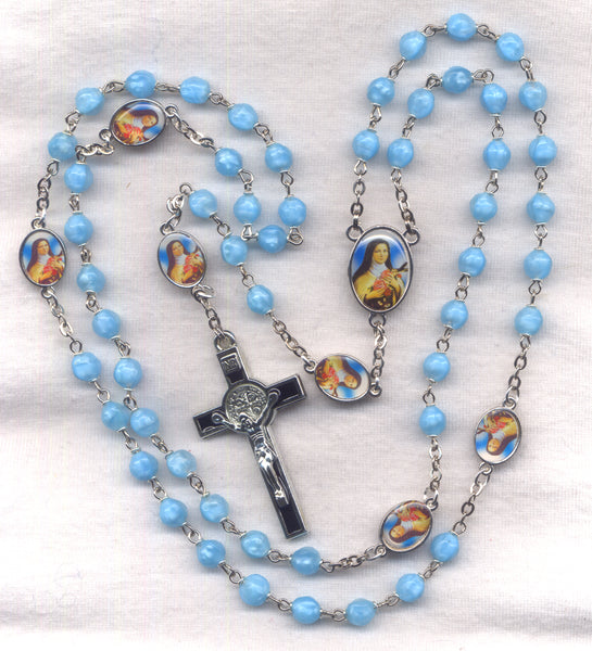 St Theresa the Little Flower Rosary St Benedict Medal Crucifix V06
