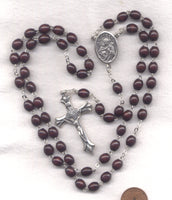 St Joseph Rosary Brown Wood Bead Men's Patron Saint Rosary V09