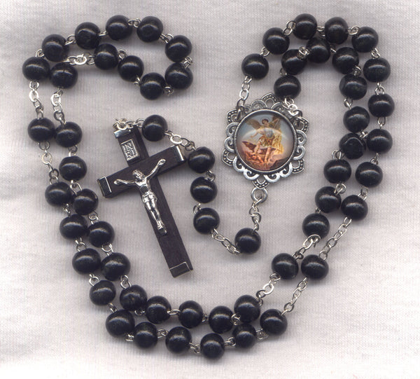 St Michael Rosary Black Wood Bead Men's Patron Saint Rosary V10