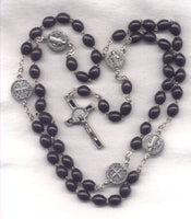 St Benedict Medal Rosary Black Wood Beads Metal Our Fathers V21