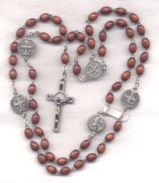 St Benedict Medal Rosary Brown Wood Beads Metal Our Fathers V22