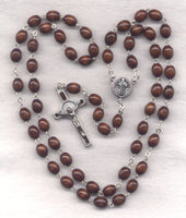 St Benedict Medal Rosary Brown Wood Beads V23