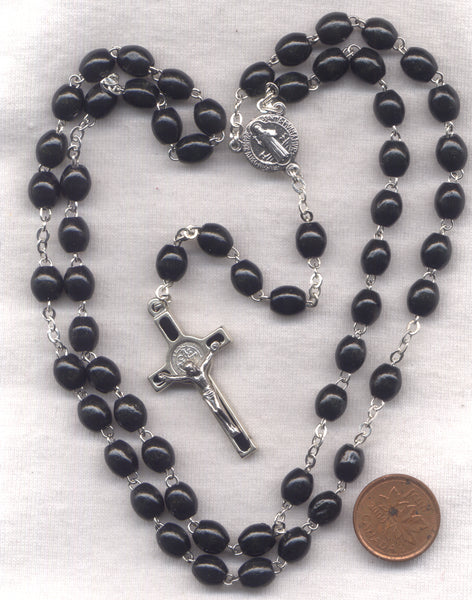 St Benedict Medal Rosary Black Wood Beads V24