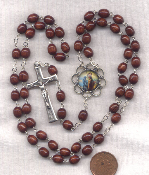 Jesus the Good Shepherd Rosary Brown Wood Beads V25