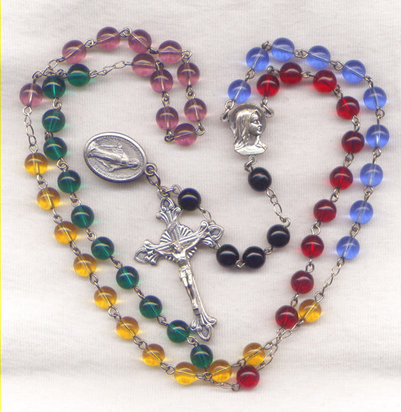 5 Continents Multi Color Glass Bead Rosary V33
