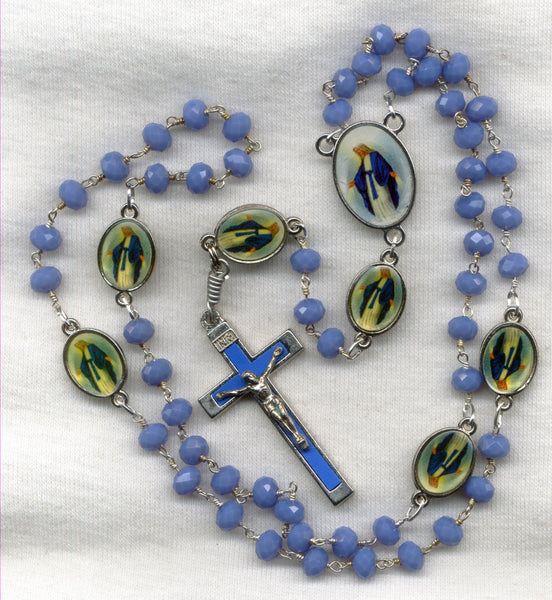 Our Lady of Grace Blue Chalcedony Stone Bead Rosary V41
