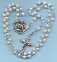 Queen of Heaven White Mini Pearl Rosary V45