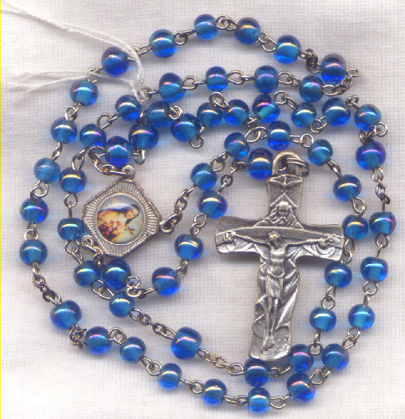 St Theresa Rosary Color Center Blue Bead Patron Saint Rosary BL08