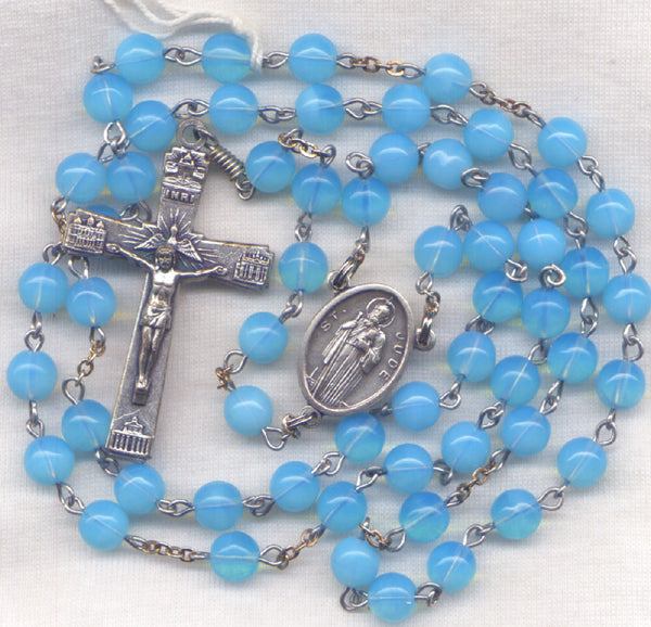 St Jude Rosary Patron of Impossible Causes Baby Blue Glass Bead BL05