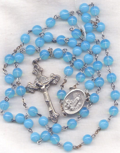 Our Lady of Fatima Rosary Baby Blue Glass Bead Rosary BL02