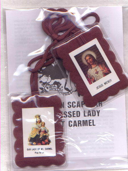 Encased Brown Scapular with leaflet each