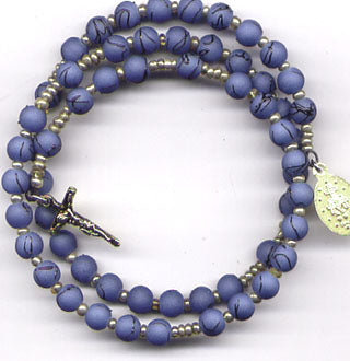 Country Blue spring wire rosary bracelet BR016