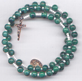 Green Imitation Marble spring wire rosary bracelet BR011