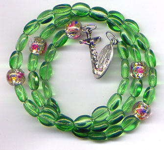 Green with Silverfoil Roses spring wire rosary bracelet BR007