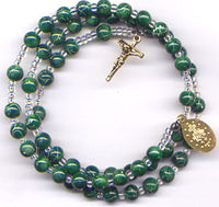 Green Imitation Marble spring wire rosary bracelet BR010