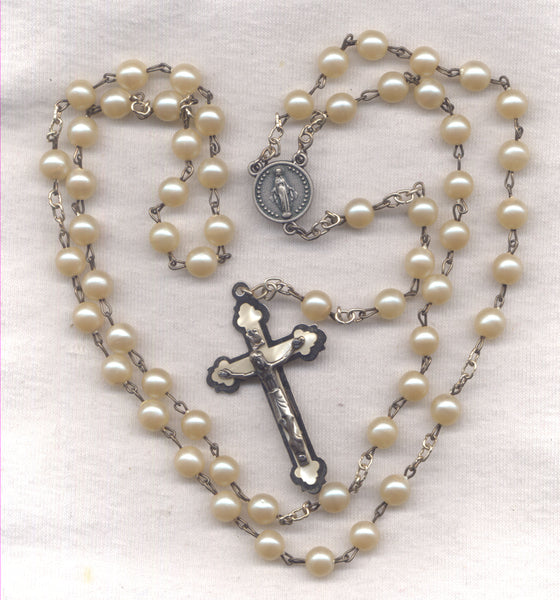 Ivory Glass Pearl Miraculous Medal Rosaries 3 per package