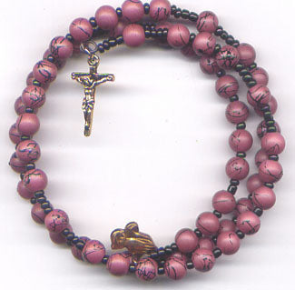 Red Wine spring wire rosary bracelet BR015