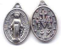 Miraculous Medal 1 inch size silver color