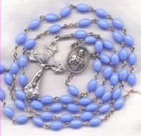 Scapular Medal Rosary Powder Blue Oval Glass Beads BL06