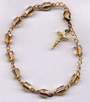 Pink Crystal AB Trade Glass One Decade Rosary Bracelet BR027