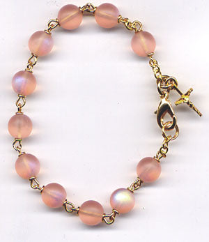 Pink AB Frosted One Decade Rosary Bracelet BR020
