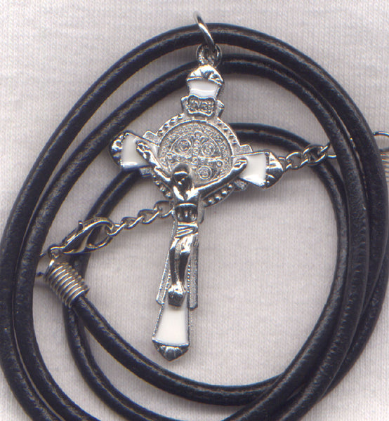 St Benedict Crucifix white enamel necklace NCL02