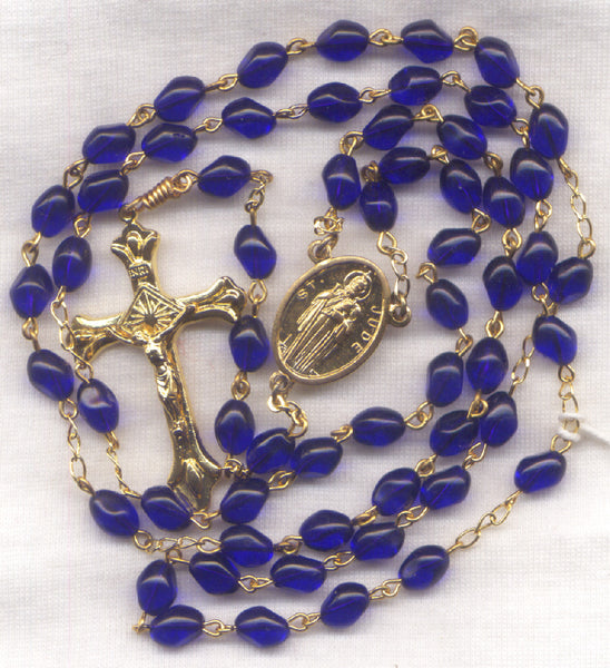 St Jude Rosary Patron of Impossible Causes Cobalt Blue Glass Patron Saint BL12