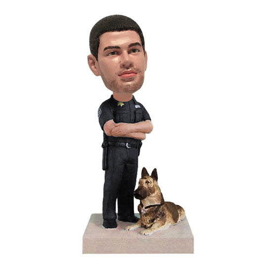 Policeman with Dog Bobble Head-BHS82