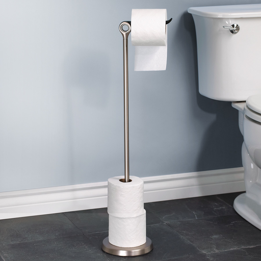 Tucan Toilet Paper Stand and Reserve, Nickel - Neat Space