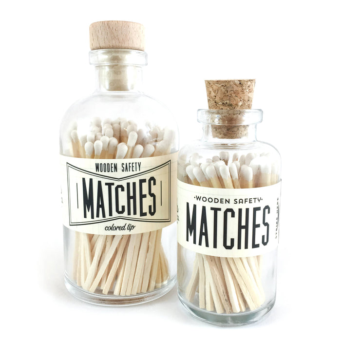 White Vintage Apothecary Matches, Large