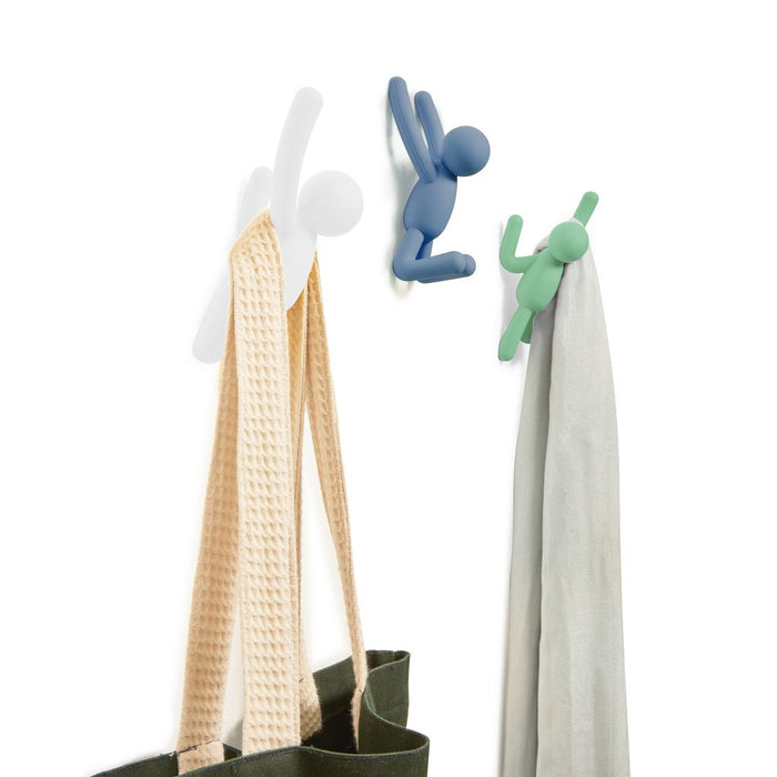 Buddy Wall Hooks Set, Assorted Blue/White