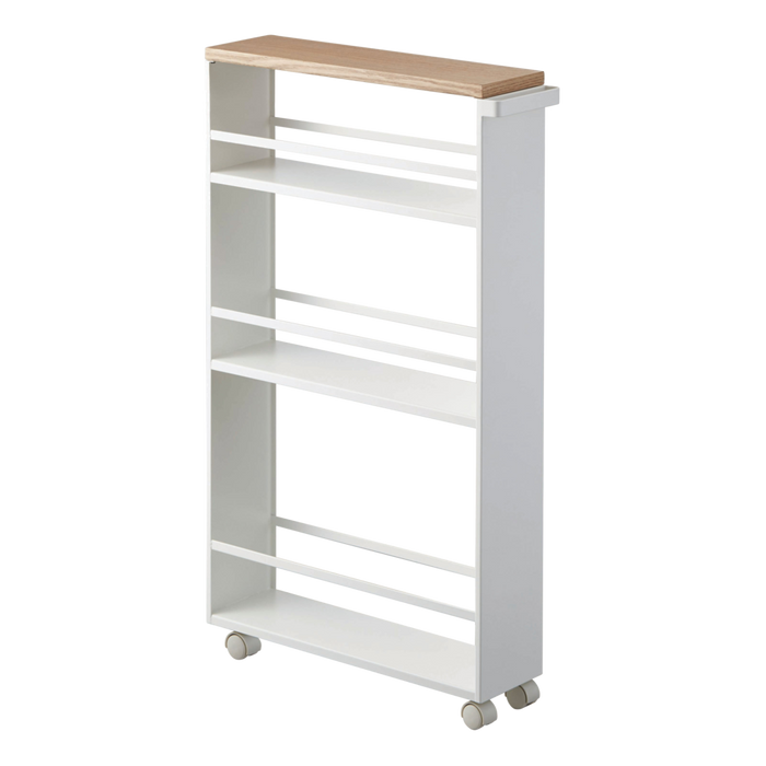 Tower Rolling Slim Storage Cart, White/Wood