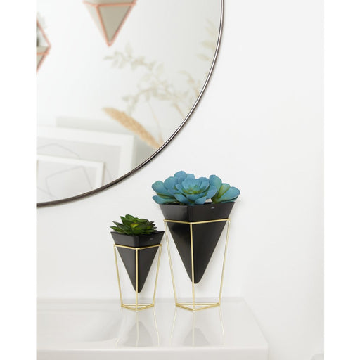 Trigg Tabletop Vase Set, Black/Brass - Set of 2