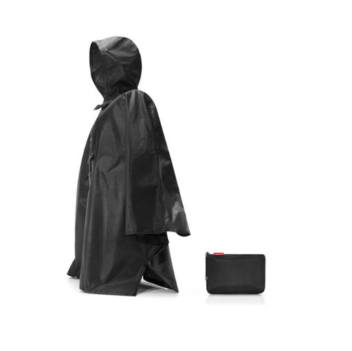 Mini Maxi Foldable Rain Poncho, Black