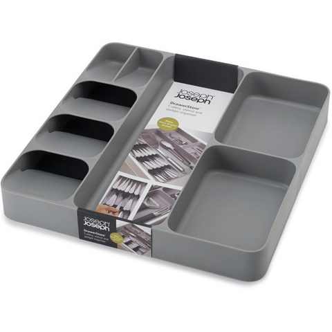 DrawerStore Cutlery and Utensil Organizer, Grey