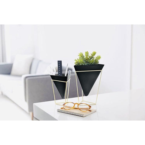 Trigg Tabletop Vase Vessel set of 2, Black/Brass