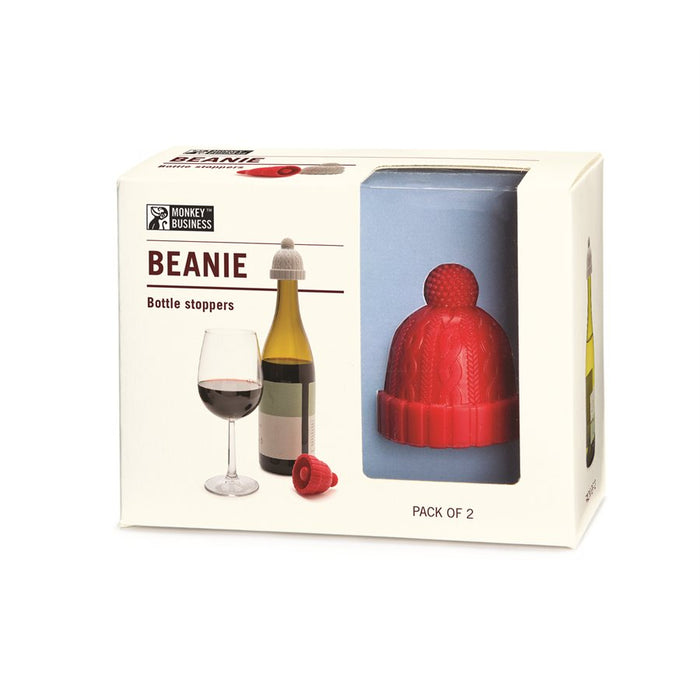 Beanie Wine Bottle Stopper, Red/Grey Set - Neat Space